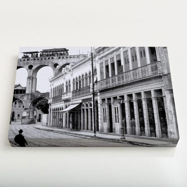 Quadro Canvas - Rua do Riachuelo com Arcos da Lapa - Ano 1912 1