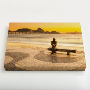 Quadro Canvas – Amanhecer em Copacabana com Drummond 4