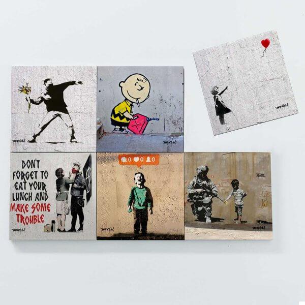 Porta Copos Magnéticos - Banksy 3