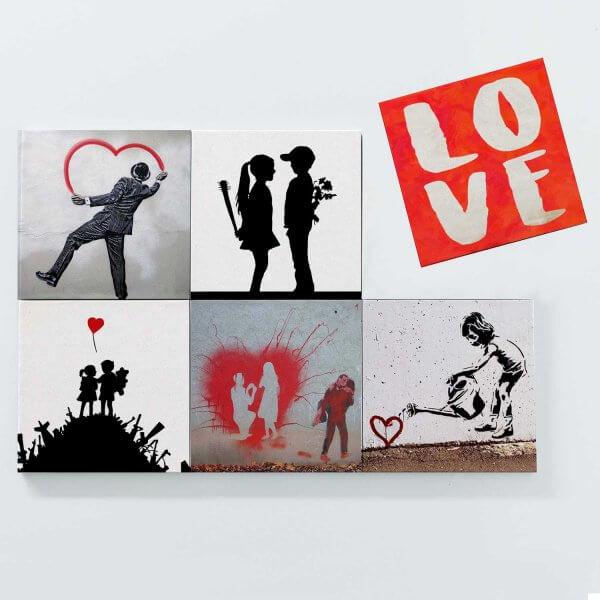 Porta Copos Magnéticos - Banksy Love 3