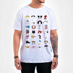 Camisa Masculina Branca – Cartoons