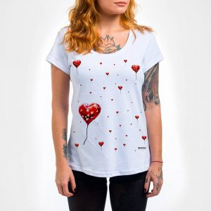 Camisa Feminina – Broken Heart Balloon Pattern