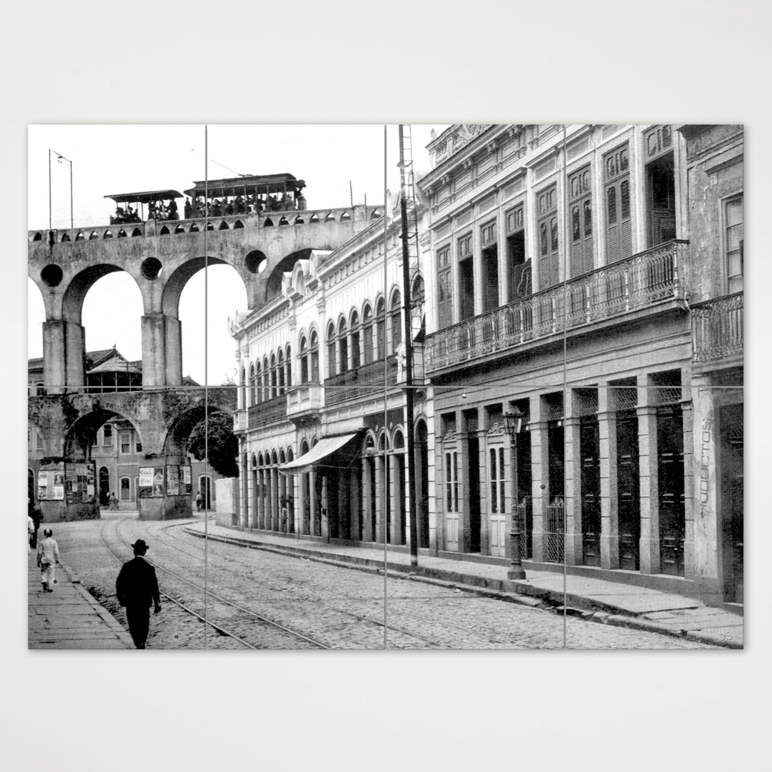 Painel Modular - Rua do Riachuelo com Arcos da Lapa - Ano 1912