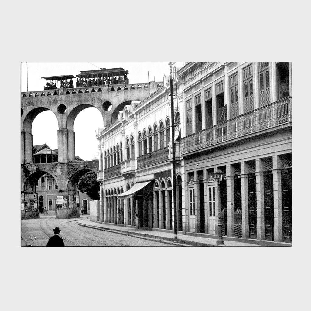 Jogo Americano - Rua do Riachuelo com Arcos da Lapa - Ano 1912