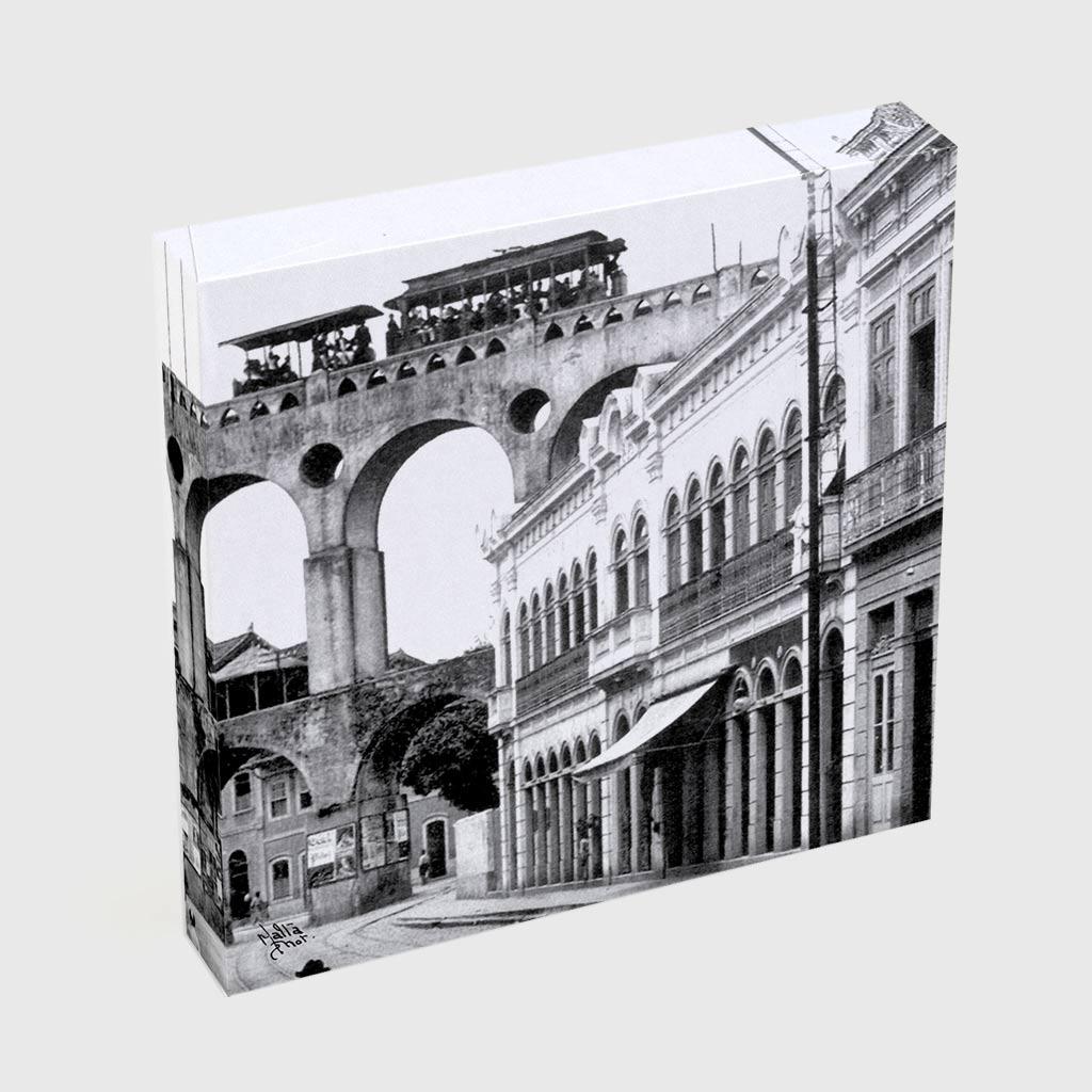 Quadro Quadrado - Rua do Riachuelo com Arcos da Lapa - Ano 1912