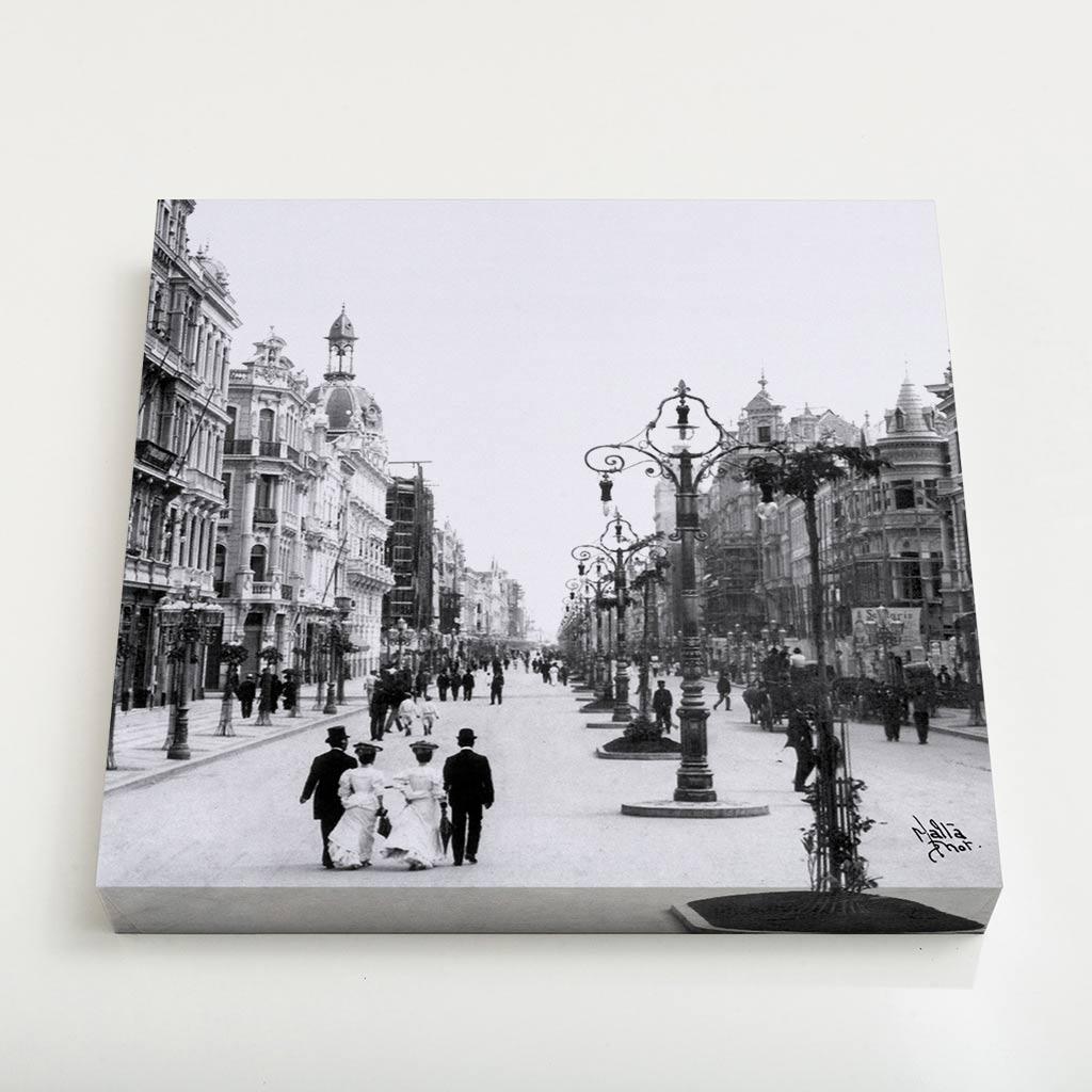 Quadro Quadrado - Avenida Central - Ano 1905