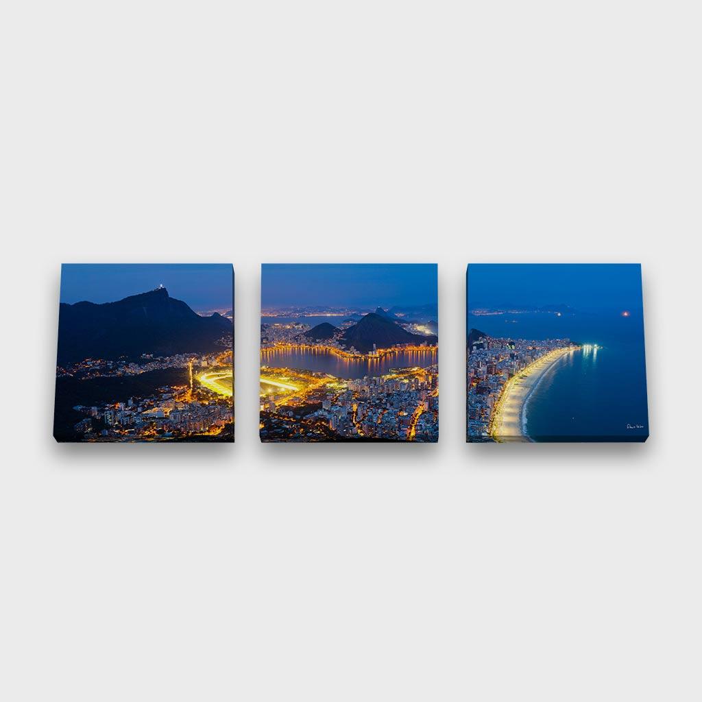 Quadro Quadrado Modular -  Zona Sul do Rio de Janeiro Vista do Alto do Dois Irmãos