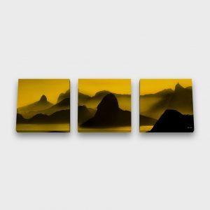 Quadro Quadrado Modular –  O Poente na Espinha de suas Montanhas, Rio de Janeiro