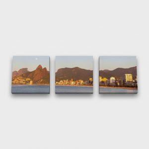 Quadro Canvas Modular – Pedra da Gávea, Dois Irmãos e Praia do Leblon
