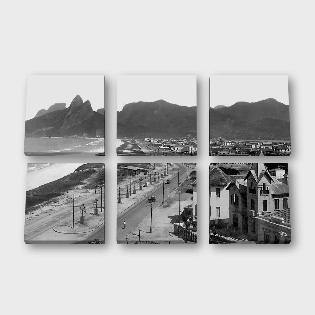Quadro Quadrado Modular -  Praias de Ipanema e Leblon - Ano 1929