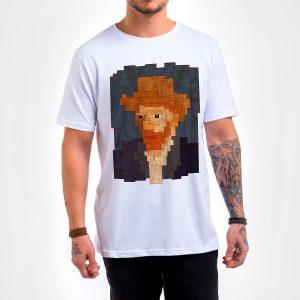 Camisa Masculina Branca – Van Gogh 8 Bit