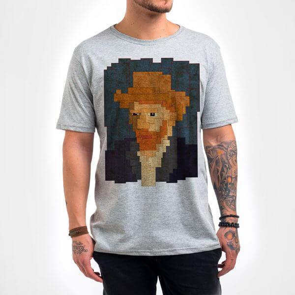 Camisa Masculina - Van Gogh 8 Bit 4