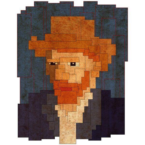 Camisa Feminina - Van Gogh 8 Bit 4