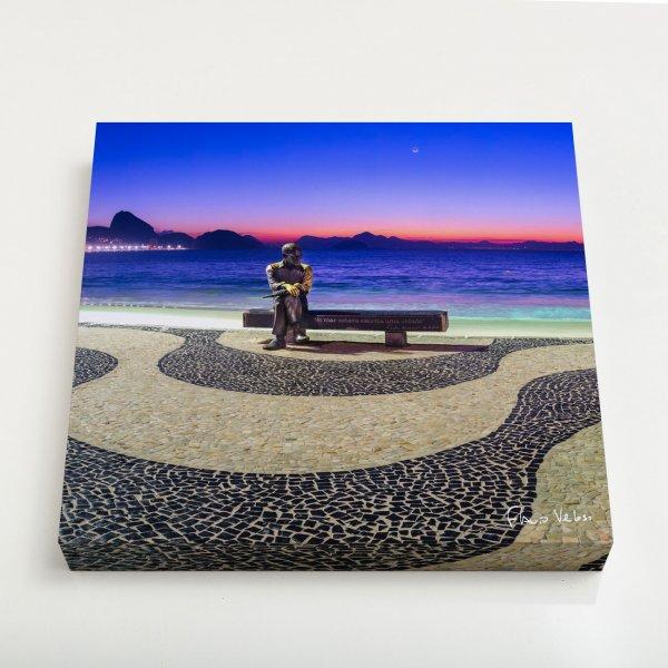 Quadro Quadrado - Amanhecer em Copacabana com Drummond III 3