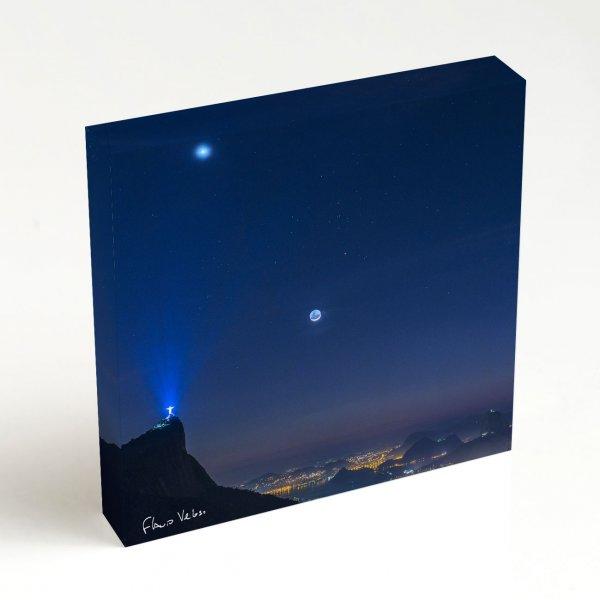 Quadro Quadrado - Venus, Touro e Lua em luz Cinéria sobre o Rio de Janeiro 4