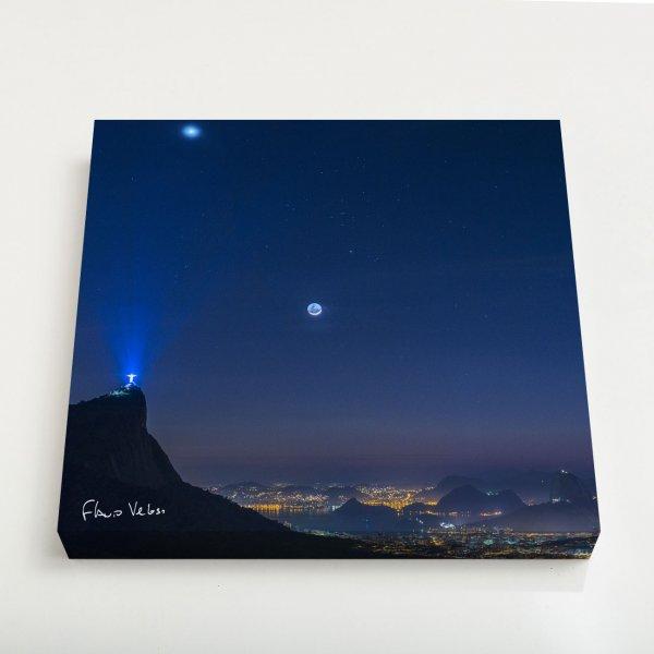 Quadro Quadrado - Venus, Touro e Lua em luz Cinéria sobre o Rio de Janeiro 3