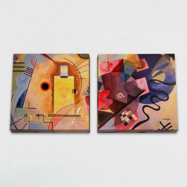 Quadro Canvas Modular - Amarelo-Vermelho-Azul 3