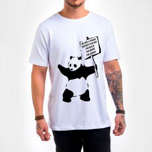 Camisa Masculina Branca – Be Like a Panda